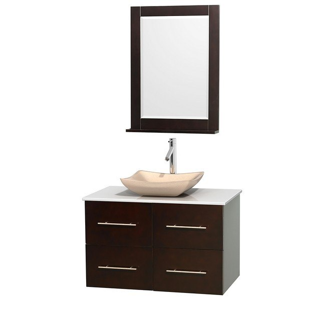 WYNDHAM COLLECTION WCVW00936SESWSGS2M24 CENTRA 36 INCH SINGLE BATHROOM VANITY IN ESPRESSO, WHITE MAN-MADE STONE COUNTERTOP, AVALON IVORY MARBLE SINK, AND 24 INCH MIRROR