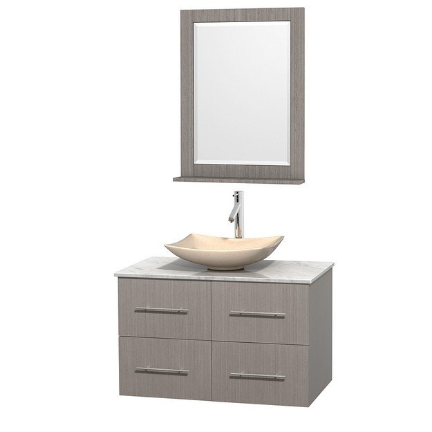 WYNDHAM COLLECTION WCVW00936SGOCMGS5M24 CENTRA 36 INCH SINGLE BATHROOM VANITY IN GRAY OAK, WHITE CARRERA MARBLE COUNTERTOP, ARISTA IVORY MARBLE SINK, AND 24 INCH MIRROR