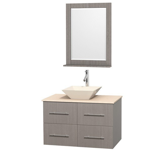 WYNDHAM COLLECTION WCVW00936SGOIVD2BM24 CENTRA 36 INCH SINGLE BATHROOM VANITY IN GRAY OAK, IVORY MARBLE COUNTERTOP, PYRA BONE PORCELAIN SINK, AND 24 INCH MIRROR