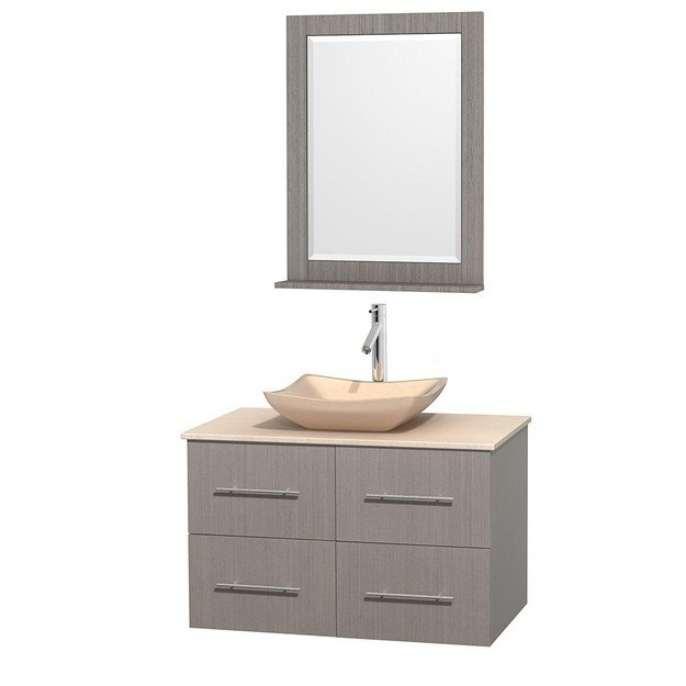 WYNDHAM COLLECTION WCVW00936SGOIVGS2M24 CENTRA 36 INCH SINGLE BATHROOM VANITY IN GRAY OAK, IVORY MARBLE COUNTERTOP, AVALON IVORY MARBLE SINK, AND 24 INCH MIRROR