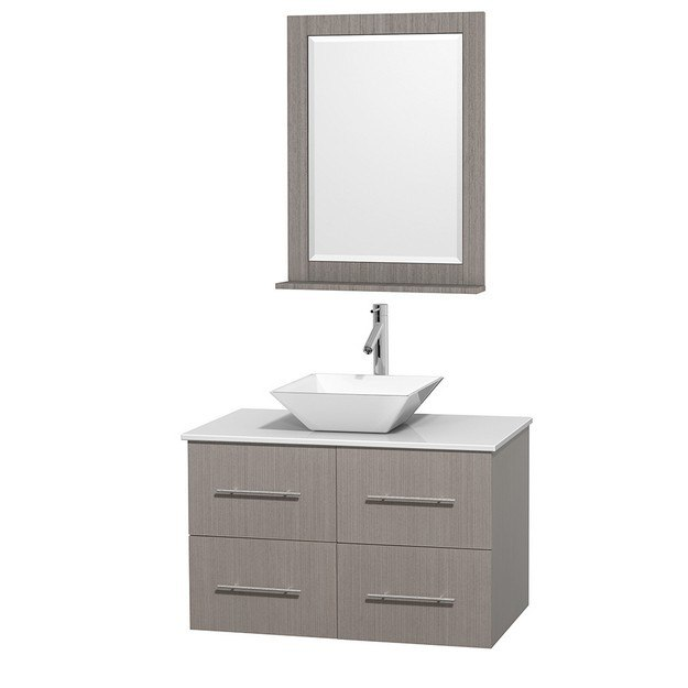 WYNDHAM COLLECTION WCVW00936SGOWSD2WM24 CENTRA 36 INCH SINGLE BATHROOM VANITY IN GRAY OAK, WHITE MAN-MADE STONE COUNTERTOP, PYRA WHITE PORCELAIN SINK, AND 24 INCH MIRROR