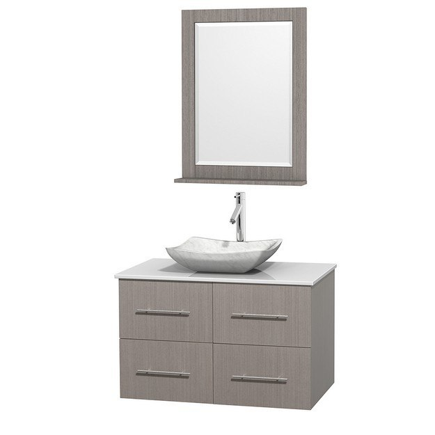 WYNDHAM COLLECTION WCVW00936SGOWSGS3M24 CENTRA 36 INCH SINGLE BATHROOM VANITY IN GRAY OAK, WHITE MAN-MADE STONE COUNTERTOP, AVALON WHITE CARRERA MARBLE SINK, AND 24 INCH MIRROR