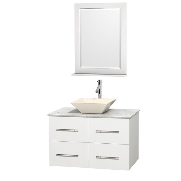 WYNDHAM COLLECTION WCVW00936SWHCMD2BM24 CENTRA 36 INCH SINGLE BATHROOM VANITY IN WHITE, WHITE CARRERA MARBLE COUNTERTOP, PYRA BONE PORCELAIN SINK, AND 24 INCH MIRROR