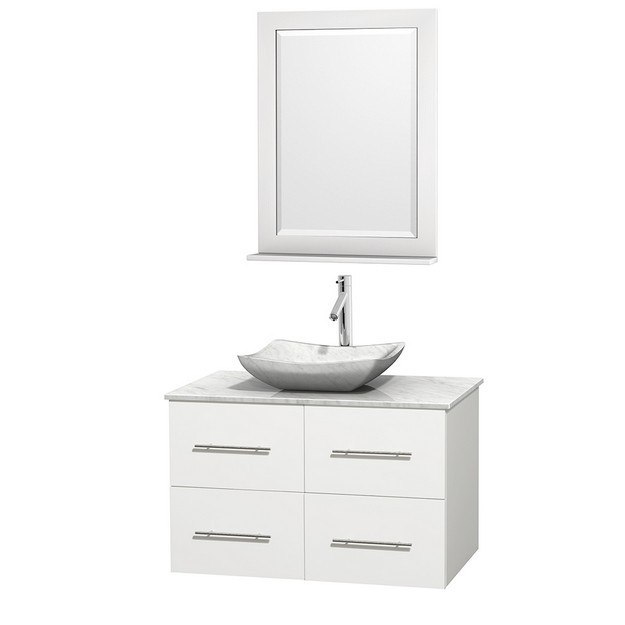 WYNDHAM COLLECTION WCVW00936SWHCMGS3M24 CENTRA 36 INCH SINGLE BATHROOM VANITY IN WHITE, WHITE CARRERA MARBLE COUNTERTOP, AVALON WHITE CARRERA MARBLE SINK, AND 24 INCH MIRROR