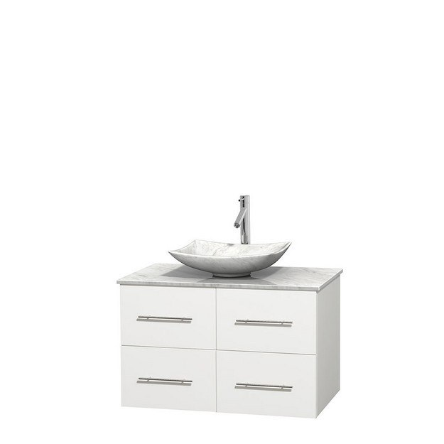 WYNDHAM COLLECTION WCVW00936SWHCMGS6MXX CENTRA 36 INCH SINGLE BATHROOM VANITY IN WHITE, WHITE CARRERA MARBLE COUNTERTOP, ARISTA WHITE CARRERA MARBLE SINK, AND NO MIRROR