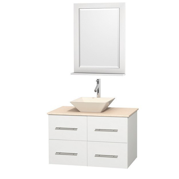 WYNDHAM COLLECTION WCVW00936SWHIVD2BM24 CENTRA 36 INCH SINGLE BATHROOM VANITY IN WHITE, IVORY MARBLE COUNTERTOP, PYRA BONE PORCELAIN SINK, AND 24 INCH MIRROR