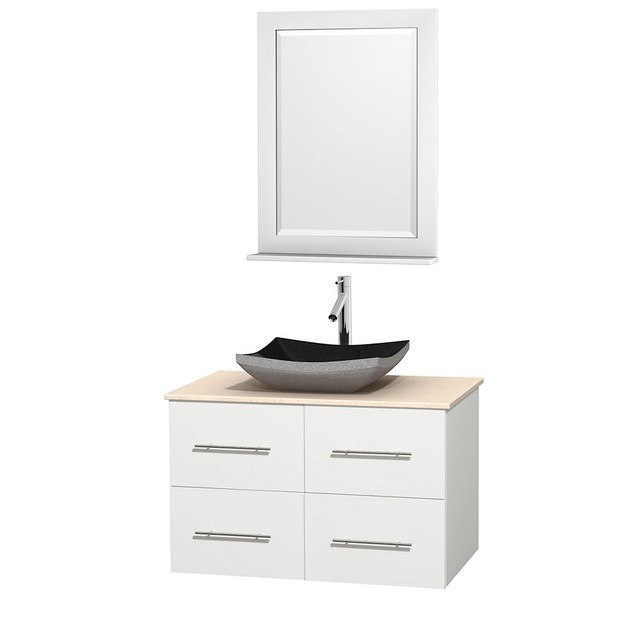 WYNDHAM COLLECTION WCVW00936SWHIVGS1M24 CENTRA 36 INCH SINGLE BATHROOM VANITY IN WHITE, IVORY MARBLE COUNTERTOP, ALTAIR BLACK GRANITE SINK, AND 24 INCH MIRROR