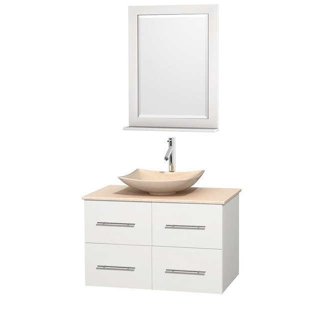 WYNDHAM COLLECTION WCVW00936SWHIVGS5M24 CENTRA 36 INCH SINGLE BATHROOM VANITY IN WHITE, IVORY MARBLE COUNTERTOP, ARISTA IVORY MARBLE SINK, AND 24 INCH MIRROR