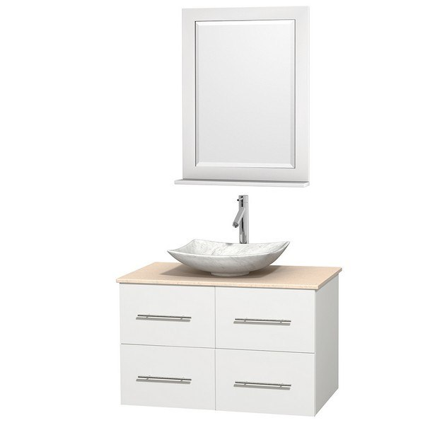 WYNDHAM COLLECTION WCVW00936SWHIVGS6M24 CENTRA 36 INCH SINGLE BATHROOM VANITY IN WHITE, IVORY MARBLE COUNTERTOP, ARISTA WHITE CARRERA MARBLE SINK, AND 24 INCH MIRROR