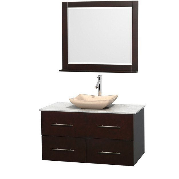 WYNDHAM COLLECTION WCVW00942SESCMGS2M36 CENTRA 42 INCH SINGLE BATHROOM VANITY IN ESPRESSO, WHITE CARRERA MARBLE COUNTERTOP, AVALON IVORY MARBLE SINK, AND 36 INCH MIRROR