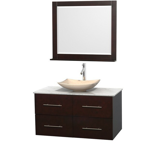 WYNDHAM COLLECTION WCVW00942SESCMGS5M36 CENTRA 42 INCH SINGLE BATHROOM VANITY IN ESPRESSO, WHITE CARRERA MARBLE COUNTERTOP, ARISTA IVORY MARBLE SINK, AND 36 INCH MIRROR