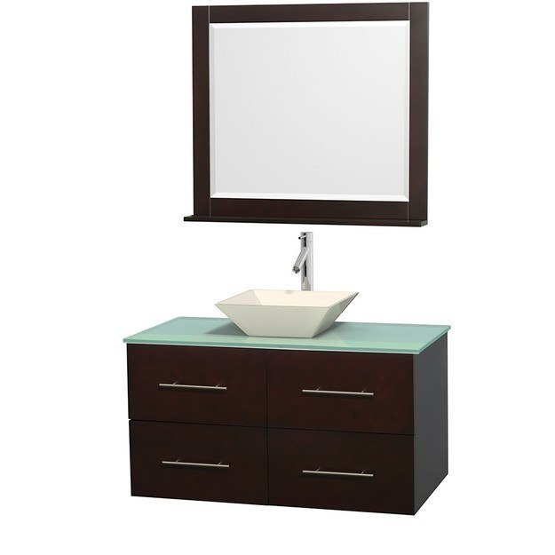 WYNDHAM COLLECTION WCVW00942SESGGD2BM36 CENTRA 42 INCH SINGLE BATHROOM VANITY IN ESPRESSO, GREEN GLASS COUNTERTOP, PYRA BONE PORCELAIN SINK, AND 36 INCH MIRROR