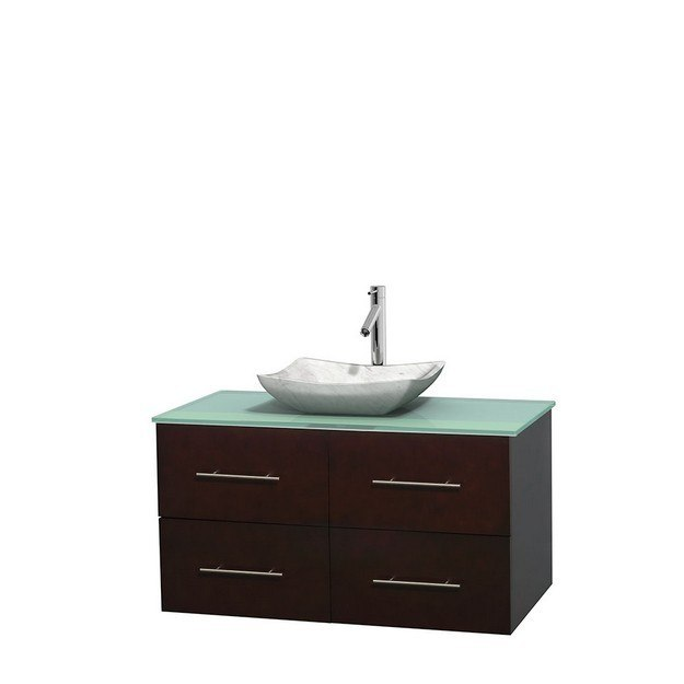 WYNDHAM COLLECTION WCVW00942SESGGGS3MXX CENTRA 42 INCH SINGLE BATHROOM VANITY IN ESPRESSO, GREEN GLASS COUNTERTOP, AVALON WHITE CARRERA MARBLE SINK, AND NO MIRROR