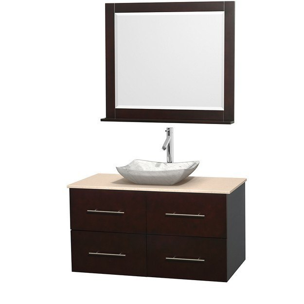 WYNDHAM COLLECTION WCVW00942SESIVGS3M36 CENTRA 42 INCH SINGLE BATHROOM VANITY IN ESPRESSO, IVORY MARBLE COUNTERTOP, AVALON WHITE CARRERA MARBLE SINK, AND 36 INCH MIRROR