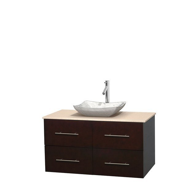 WYNDHAM COLLECTION WCVW00942SESIVGS3MXX CENTRA 42 INCH SINGLE BATHROOM VANITY IN ESPRESSO, IVORY MARBLE COUNTERTOP, AVALON WHITE CARRERA MARBLE SINK, AND NO MIRROR