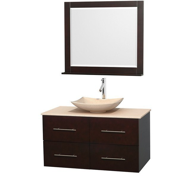 WYNDHAM COLLECTION WCVW00942SESIVGS5M36 CENTRA 42 INCH SINGLE BATHROOM VANITY IN ESPRESSO, IVORY MARBLE COUNTERTOP, ARISTA IVORY MARBLE SINK, AND 36 INCH MIRROR