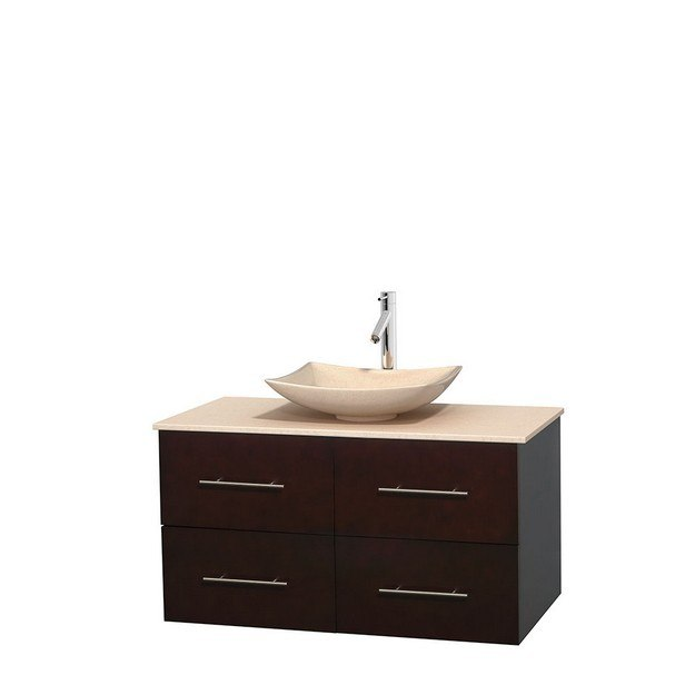 WYNDHAM COLLECTION WCVW00942SESIVGS5MXX CENTRA 42 INCH SINGLE BATHROOM VANITY IN ESPRESSO, IVORY MARBLE COUNTERTOP, ARISTA IVORY MARBLE SINK, AND NO MIRROR