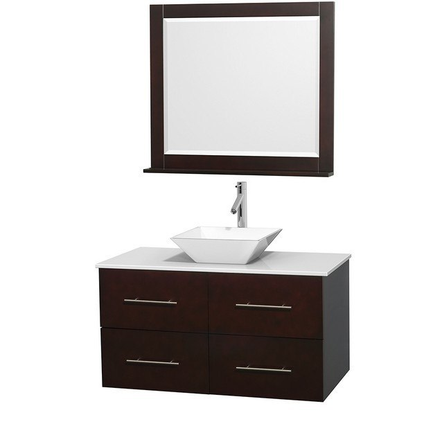 WYNDHAM COLLECTION WCVW00942SESWSD2WM36 CENTRA 42 INCH SINGLE BATHROOM VANITY IN ESPRESSO, WHITE MAN-MADE STONE COUNTERTOP, PYRA WHITE PORCELAIN SINK, AND 36 INCH MIRROR