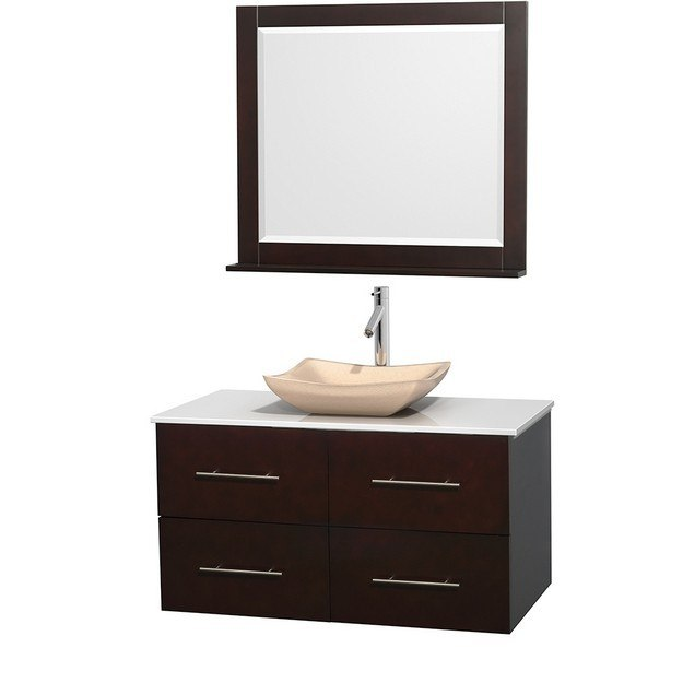 WYNDHAM COLLECTION WCVW00942SESWSGS2M36 CENTRA 42 INCH SINGLE BATHROOM VANITY IN ESPRESSO, WHITE MAN-MADE STONE COUNTERTOP, AVALON IVORY MARBLE SINK, AND 36 INCH MIRROR
