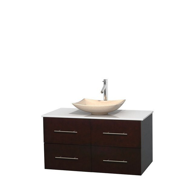 WYNDHAM COLLECTION WCVW00942SESWSGS5MXX CENTRA 42 INCH SINGLE BATHROOM VANITY IN ESPRESSO, WHITE MAN-MADE STONE COUNTERTOP, ARISTA IVORY MARBLE SINK, AND NO MIRROR