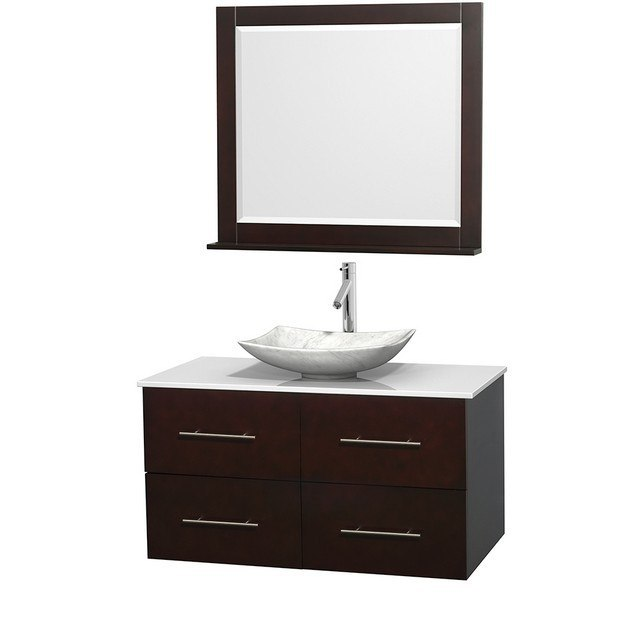 WYNDHAM COLLECTION WCVW00942SESWSGS6M36 CENTRA 42 INCH SINGLE BATHROOM VANITY IN ESPRESSO, WHITE MAN-MADE STONE COUNTERTOP, ARISTA WHITE CARRERA MARBLE SINK, AND 36 INCH MIRROR