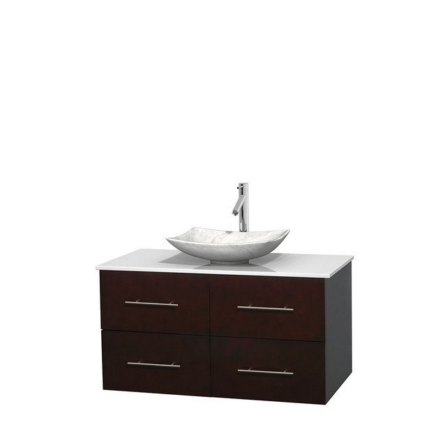 WYNDHAM COLLECTION WCVW00942SESWSGS6MXX CENTRA 42 INCH SINGLE BATHROOM VANITY IN ESPRESSO, WHITE MAN-MADE STONE COUNTERTOP, ARISTA WHITE CARRERA MARBLE SINK, AND NO MIRROR