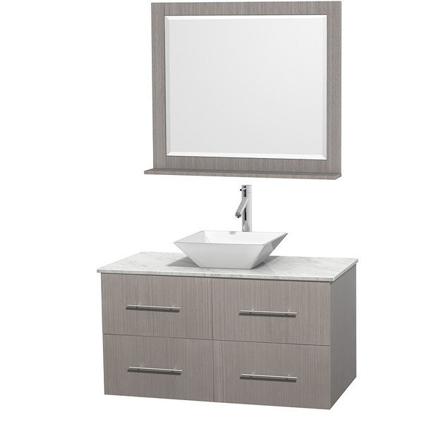 WYNDHAM COLLECTION WCVW00942SGOCMD2WM36 CENTRA 42 INCH SINGLE BATHROOM VANITY IN GRAY OAK, WHITE CARRERA MARBLE COUNTERTOP, PYRA WHITE PORCELAIN SINK, AND 36 INCH MIRROR