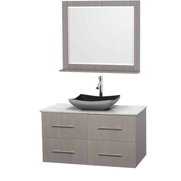 WYNDHAM COLLECTION WCVW00942SGOCMGS1M36 CENTRA 42 INCH SINGLE BATHROOM VANITY IN GRAY OAK, WHITE CARRERA MARBLE COUNTERTOP, ALTAIR BLACK GRANITE SINK, AND 36 INCH MIRROR