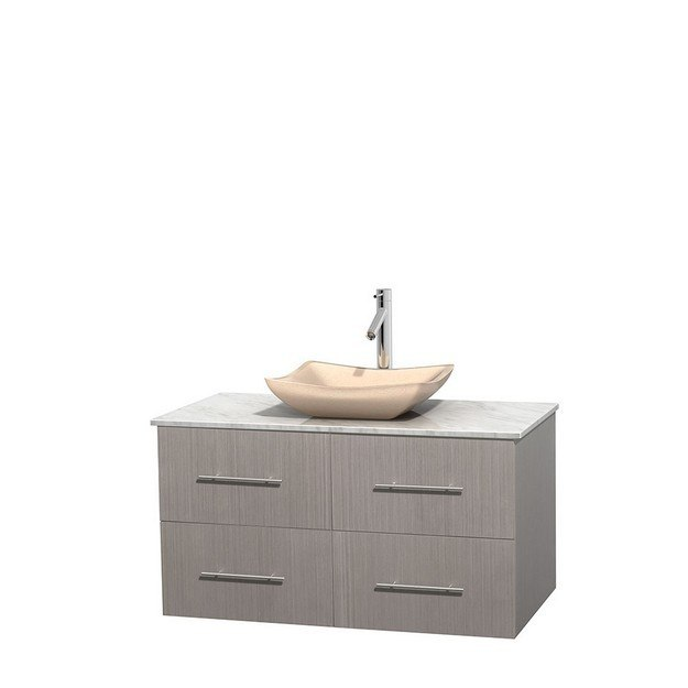 WYNDHAM COLLECTION WCVW00942SGOCMGS2MXX CENTRA 42 INCH SINGLE BATHROOM VANITY IN GRAY OAK, WHITE CARRERA MARBLE COUNTERTOP, AVALON IVORY MARBLE SINK, AND NO MIRROR
