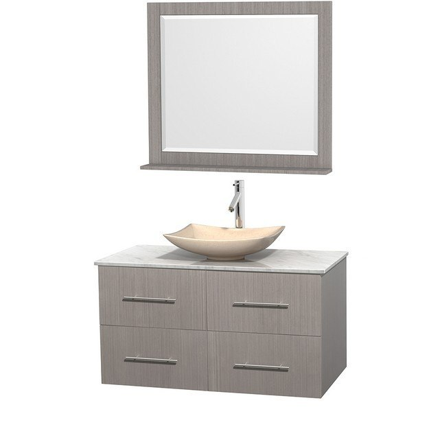 WYNDHAM COLLECTION WCVW00942SGOCMGS5M36 CENTRA 42 INCH SINGLE BATHROOM VANITY IN GRAY OAK, WHITE CARRERA MARBLE COUNTERTOP, ARISTA IVORY MARBLE SINK, AND 36 INCH MIRROR