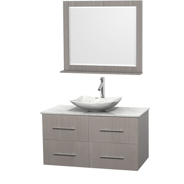 WYNDHAM COLLECTION WCVW00942SGOCMGS6M36 CENTRA 42 INCH SINGLE BATHROOM VANITY IN GRAY OAK, WHITE CARRERA MARBLE COUNTERTOP, ARISTA WHITE CARRERA MARBLE SINK, AND 36 INCH MIRROR