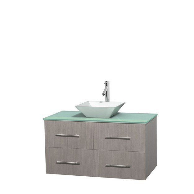 WYNDHAM COLLECTION WCVW00942SGOGGD2WMXX CENTRA 42 INCH SINGLE BATHROOM VANITY IN GRAY OAK, GREEN GLASS COUNTERTOP, PYRA WHITE PORCELAIN SINK, AND NO MIRROR
