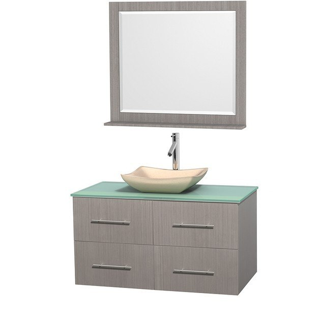 WYNDHAM COLLECTION WCVW00942SGOGGGS2M36 CENTRA 42 INCH SINGLE BATHROOM VANITY IN GRAY OAK, GREEN GLASS COUNTERTOP, AVALON IVORY MARBLE SINK, AND 36 INCH MIRROR
