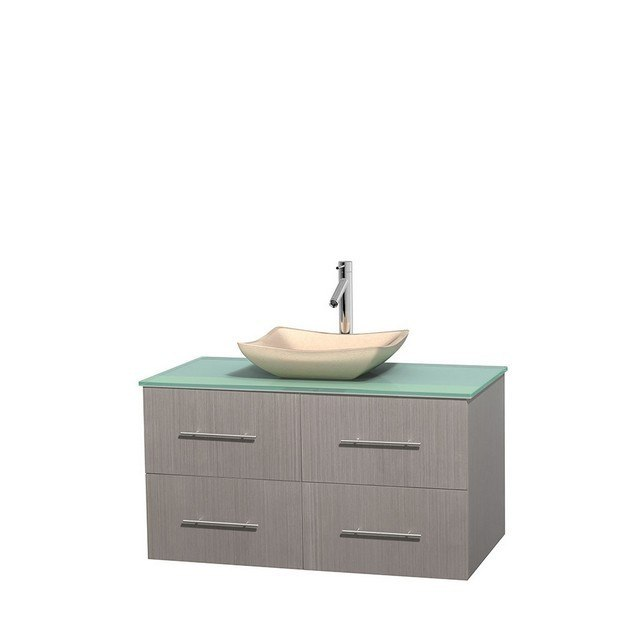 WYNDHAM COLLECTION WCVW00942SGOGGGS2MXX CENTRA 42 INCH SINGLE BATHROOM VANITY IN GRAY OAK, GREEN GLASS COUNTERTOP, AVALON IVORY MARBLE SINK, AND NO MIRROR