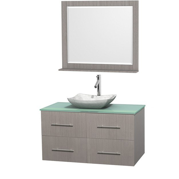 WYNDHAM COLLECTION WCVW00942SGOGGGS3M36 CENTRA 42 INCH SINGLE BATHROOM VANITY IN GRAY OAK, GREEN GLASS COUNTERTOP, AVALON WHITE CARRERA MARBLE SINK, AND 36 INCH MIRROR