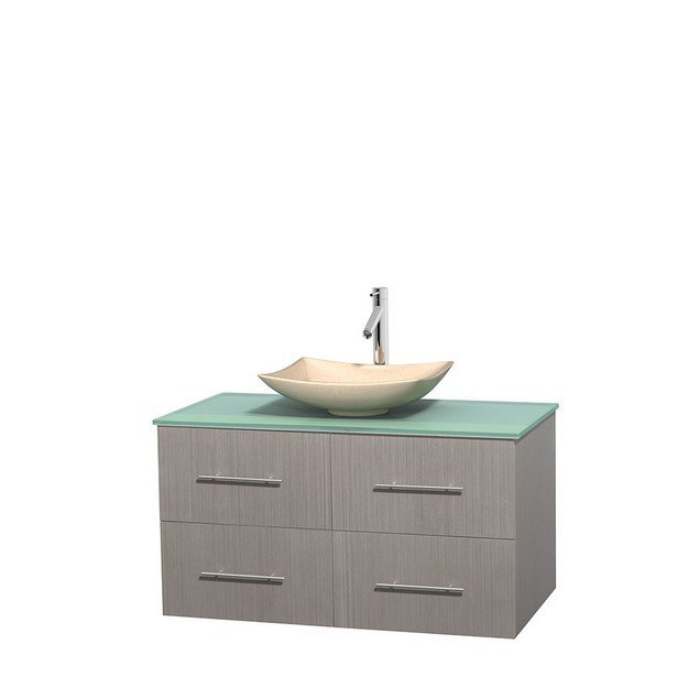 WYNDHAM COLLECTION WCVW00942SGOGGGS5MXX CENTRA 42 INCH SINGLE BATHROOM VANITY IN GRAY OAK, GREEN GLASS COUNTERTOP, ARISTA IVORY MARBLE SINK, AND NO MIRROR