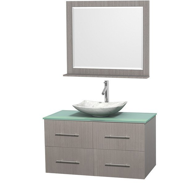 WYNDHAM COLLECTION WCVW00942SGOGGGS6M36 CENTRA 42 INCH SINGLE BATHROOM VANITY IN GRAY OAK, GREEN GLASS COUNTERTOP, ARISTA WHITE CARRERA MARBLE SINK, AND 36 INCH MIRROR