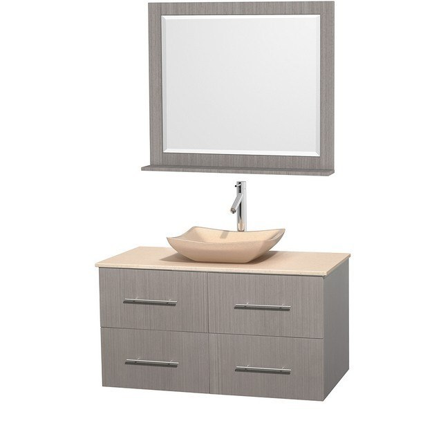 WYNDHAM COLLECTION WCVW00942SGOIVGS2M36 CENTRA 42 INCH SINGLE BATHROOM VANITY IN GRAY OAK, IVORY MARBLE COUNTERTOP, AVALON IVORY MARBLE SINK, AND 36 INCH MIRROR