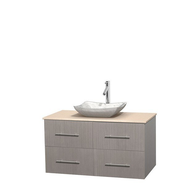 WYNDHAM COLLECTION WCVW00942SGOIVGS3MXX CENTRA 42 INCH SINGLE BATHROOM VANITY IN GRAY OAK, IVORY MARBLE COUNTERTOP, AVALON WHITE CARRERA MARBLE SINK, AND NO MIRROR