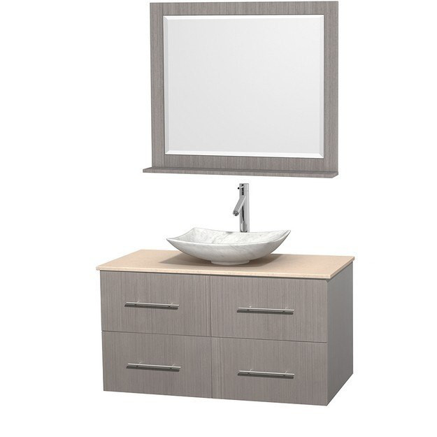 WYNDHAM COLLECTION WCVW00942SGOIVGS6M36 CENTRA 42 INCH SINGLE BATHROOM VANITY IN GRAY OAK, IVORY MARBLE COUNTERTOP, ARISTA WHITE CARRERA MARBLE SINK, AND 36 INCH MIRROR