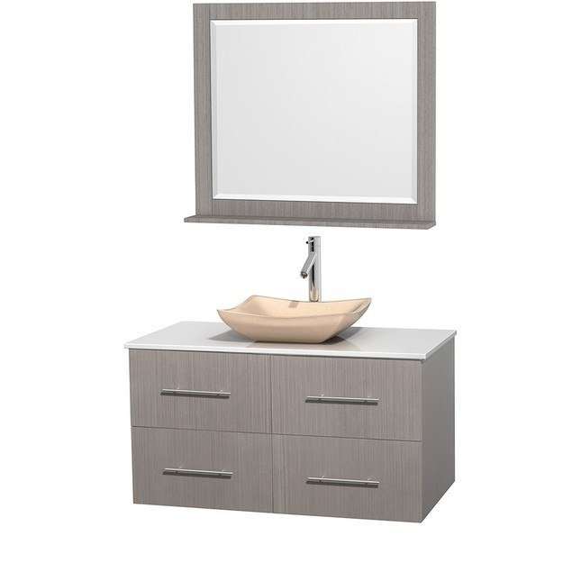 WYNDHAM COLLECTION WCVW00942SGOWSGS2M36 CENTRA 42 INCH SINGLE BATHROOM VANITY IN GRAY OAK, WHITE MAN-MADE STONE COUNTERTOP, AVALON IVORY MARBLE SINK, AND 36 INCH MIRROR