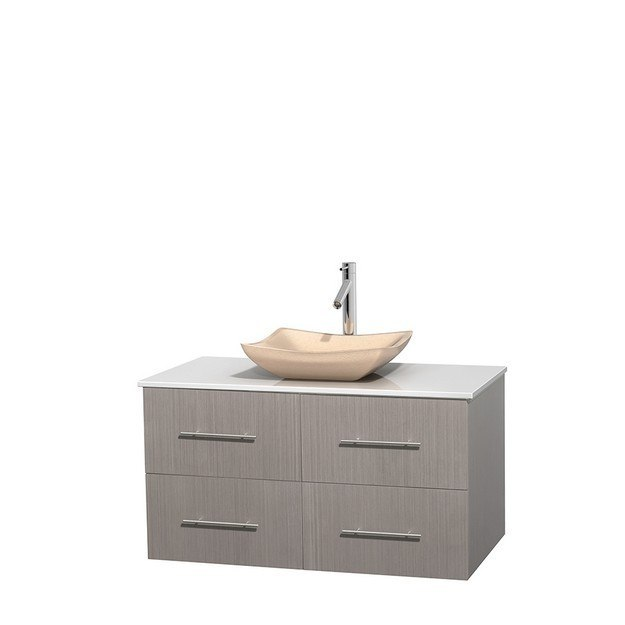 WYNDHAM COLLECTION WCVW00942SGOWSGS2MXX CENTRA 42 INCH SINGLE BATHROOM VANITY IN GRAY OAK, WHITE MAN-MADE STONE COUNTERTOP, AVALON IVORY MARBLE SINK, AND NO MIRROR