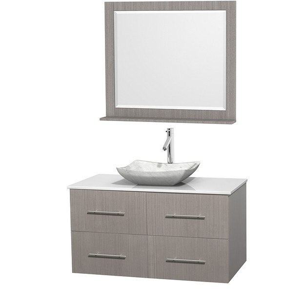 WYNDHAM COLLECTION WCVW00942SGOWSGS3M36 CENTRA 42 INCH SINGLE BATHROOM VANITY IN GRAY OAK, WHITE MAN-MADE STONE COUNTERTOP, AVALON WHITE CARRERA MARBLE SINK, AND 36 INCH MIRROR