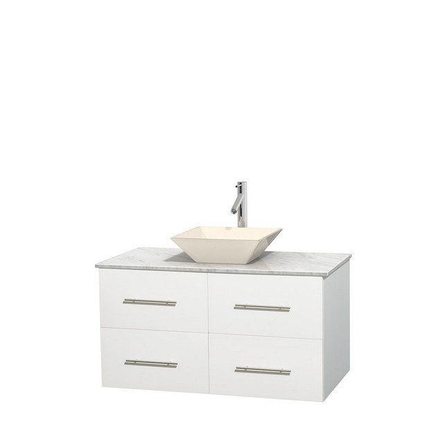 WYNDHAM COLLECTION WCVW00942SWHCMD2BMXX CENTRA 42 INCH SINGLE BATHROOM VANITY IN WHITE, WHITE CARRERA MARBLE COUNTERTOP, PYRA BONE PORCELAIN SINK, AND NO MIRROR