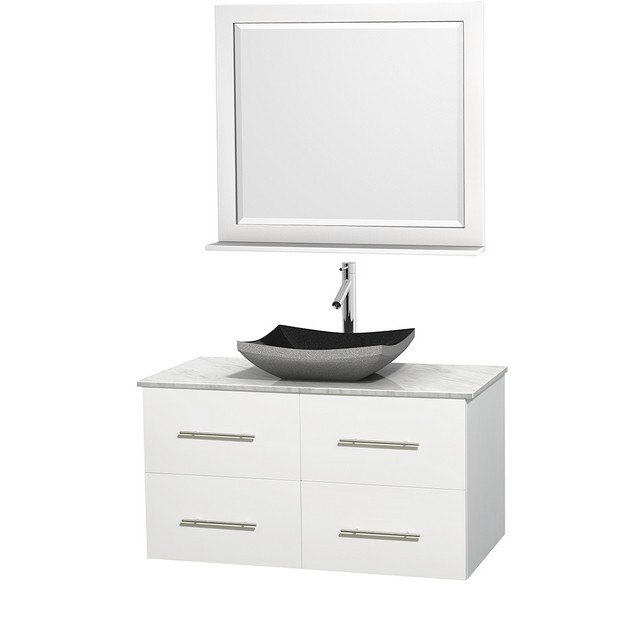 WYNDHAM COLLECTION WCVW00942SWHCMGS1M36 CENTRA 42 INCH SINGLE BATHROOM VANITY IN WHITE, WHITE CARRERA MARBLE COUNTERTOP, ALTAIR BLACK GRANITE SINK, AND 36 INCH MIRROR