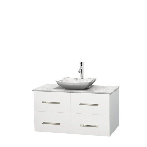 WYNDHAM COLLECTION WCVW00942SWHCMGS3MXX CENTRA 42 INCH SINGLE BATHROOM VANITY IN WHITE, WHITE CARRERA MARBLE COUNTERTOP, AVALON WHITE CARRERA MARBLE SINK, AND NO MIRROR