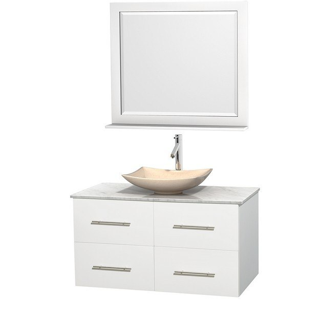 WYNDHAM COLLECTION WCVW00942SWHCMGS5M36 CENTRA 42 INCH SINGLE BATHROOM VANITY IN WHITE, WHITE CARRERA MARBLE COUNTERTOP, ARISTA IVORY MARBLE SINK, AND 36 INCH MIRROR