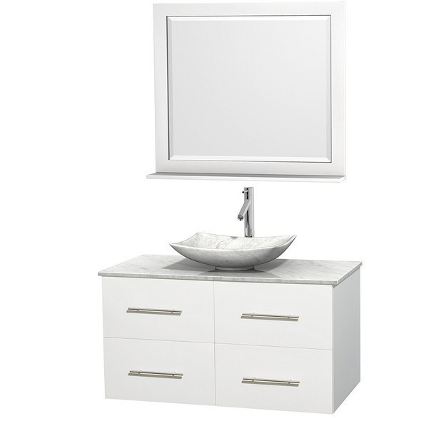 WYNDHAM COLLECTION WCVW00942SWHCMGS6M36 CENTRA 42 INCH SINGLE BATHROOM VANITY IN WHITE, WHITE CARRERA MARBLE COUNTERTOP, ARISTA WHITE CARRERA MARBLE SINK, AND 36 INCH MIRROR