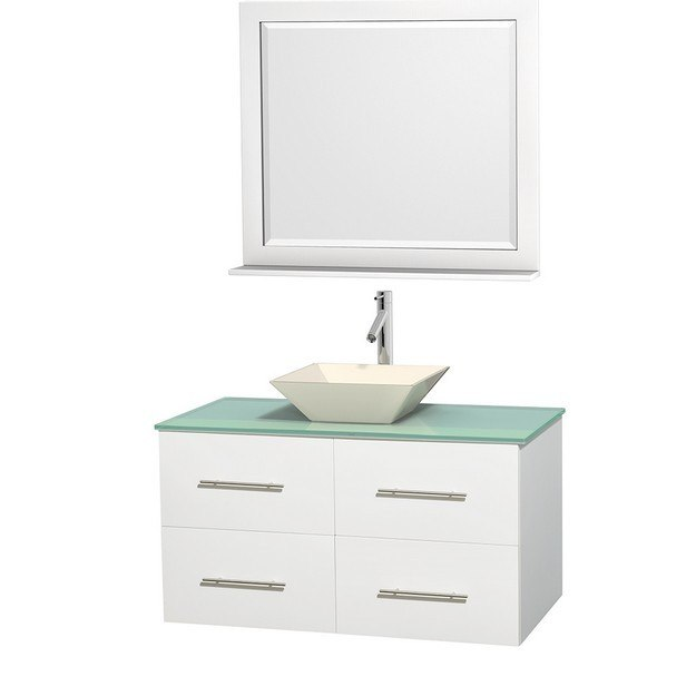 WYNDHAM COLLECTION WCVW00942SWHGGD2BM36 CENTRA 42 INCH SINGLE BATHROOM VANITY IN WHITE, GREEN GLASS COUNTERTOP, PYRA BONE PORCELAIN SINK, AND 36 INCH MIRROR