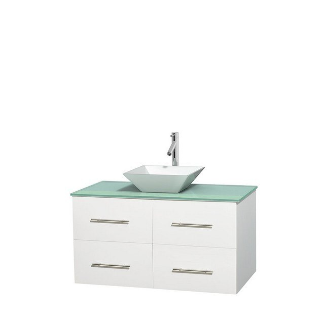 WYNDHAM COLLECTION WCVW00942SWHGGD2WMXX CENTRA 42 INCH SINGLE BATHROOM VANITY IN WHITE, GREEN GLASS COUNTERTOP, PYRA WHITE PORCELAIN SINK, AND NO MIRROR